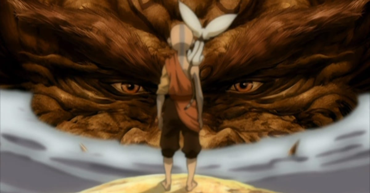 Aang stands in the center of the shot facing away, with Momo on his shoulder, a giant lion-turtle is looking at him, facing the camera