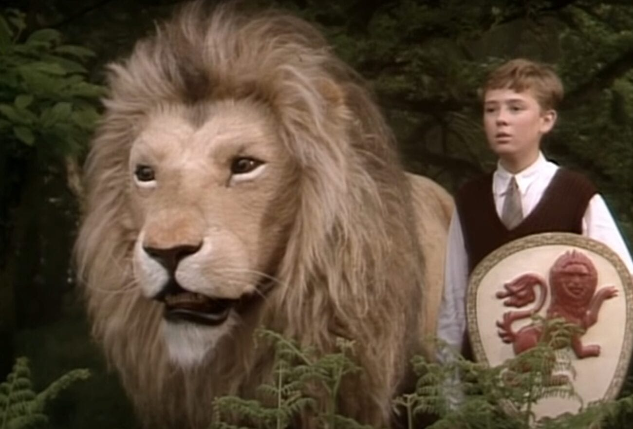 Peter holds a shield and stands next to Aslan