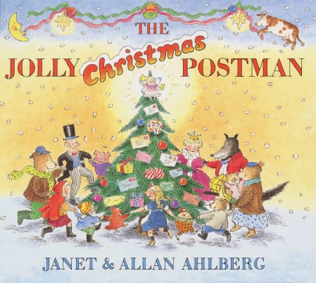 On the cover of The Jolly Christmas Postman, various fairy tale characters hold hands and dance around a Christmas tree with letters and presents hanging from it