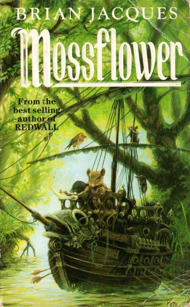 On the cover of Mossflower, Martin and his friends ride a ship down a river in the woods