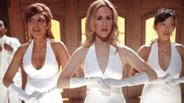 Jeannie, Harriet, and Samantha, in white formal dresses, for a sketch