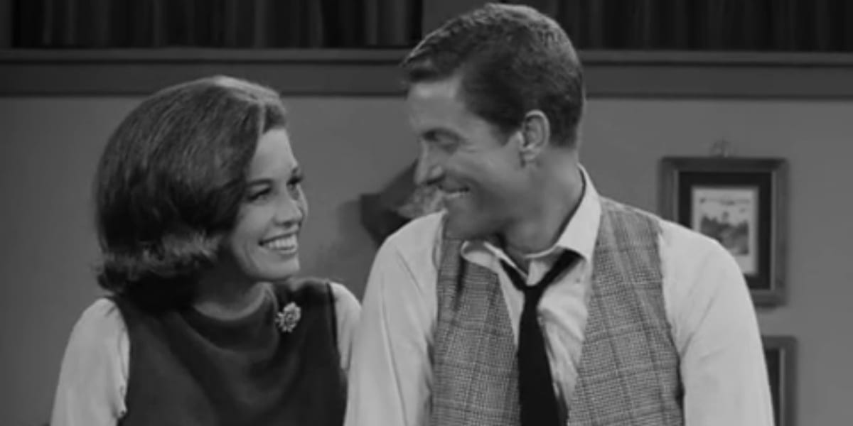 Laura and Rob The Dick Van Dyke Show black and white photo
