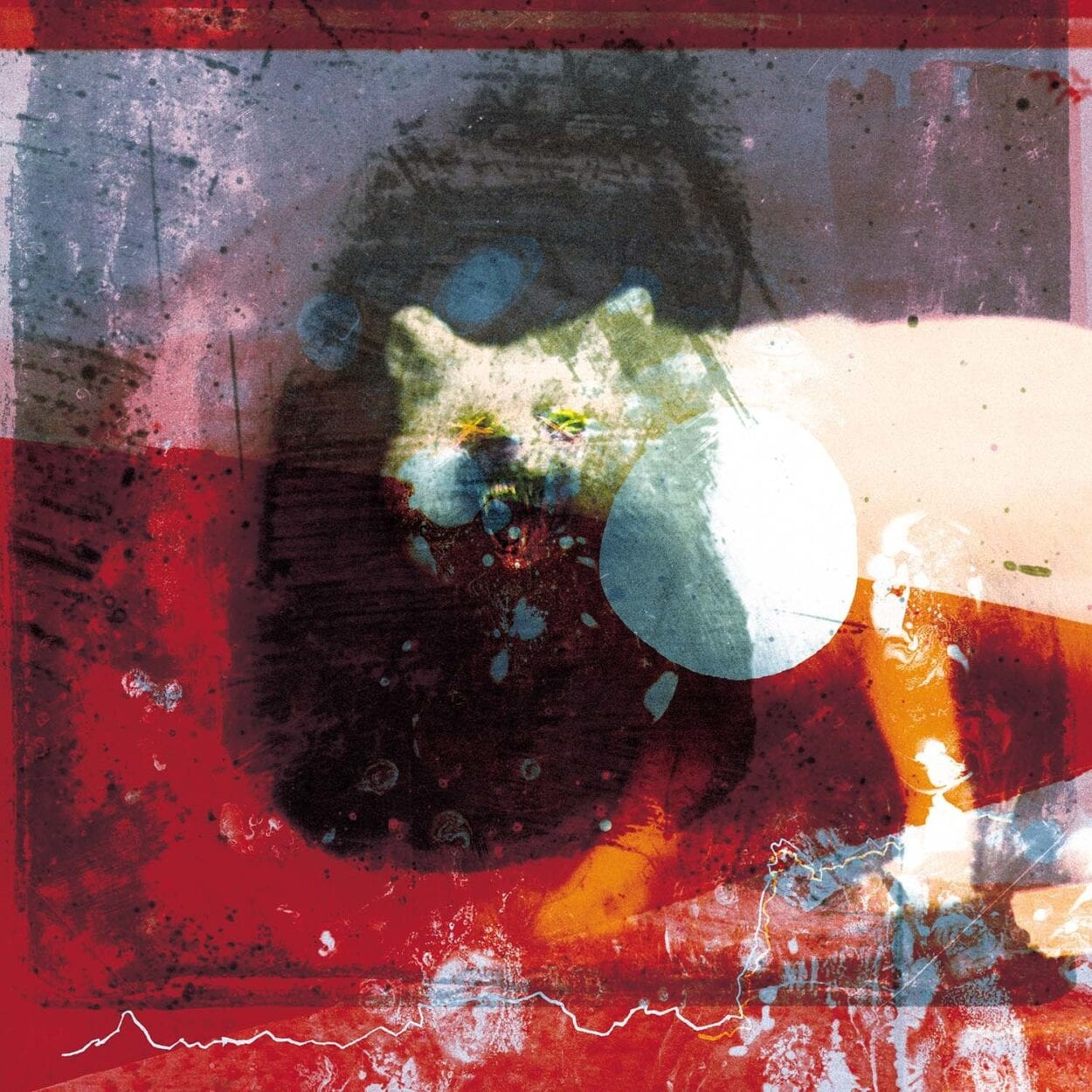 Mogwai - As the Love Continues cover art featuring wolf looking at the viewer, with a red abstract painting superimposed