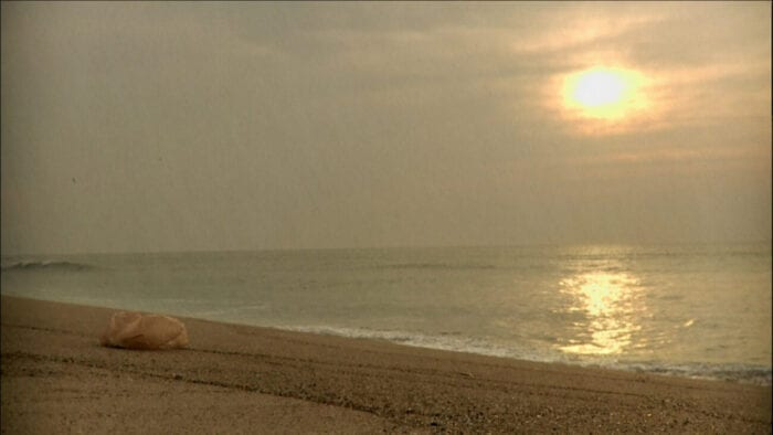 Still from the short film Plastic Bag on Criterion Channel. A plastic shopping bag (left) sits on the beach as if watching the sunset.