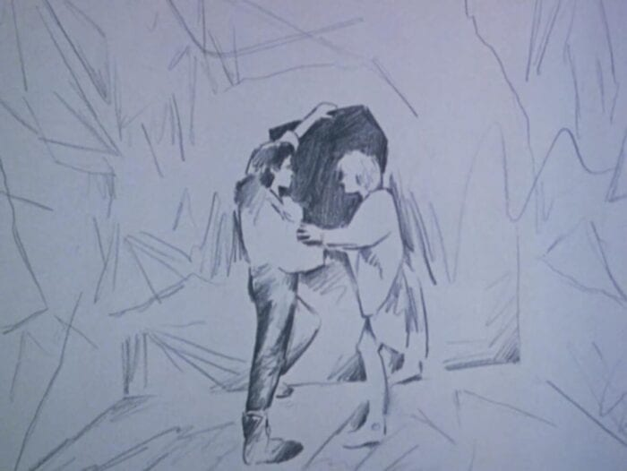 pencil drawing of two people touching arms while on a scribbled background..