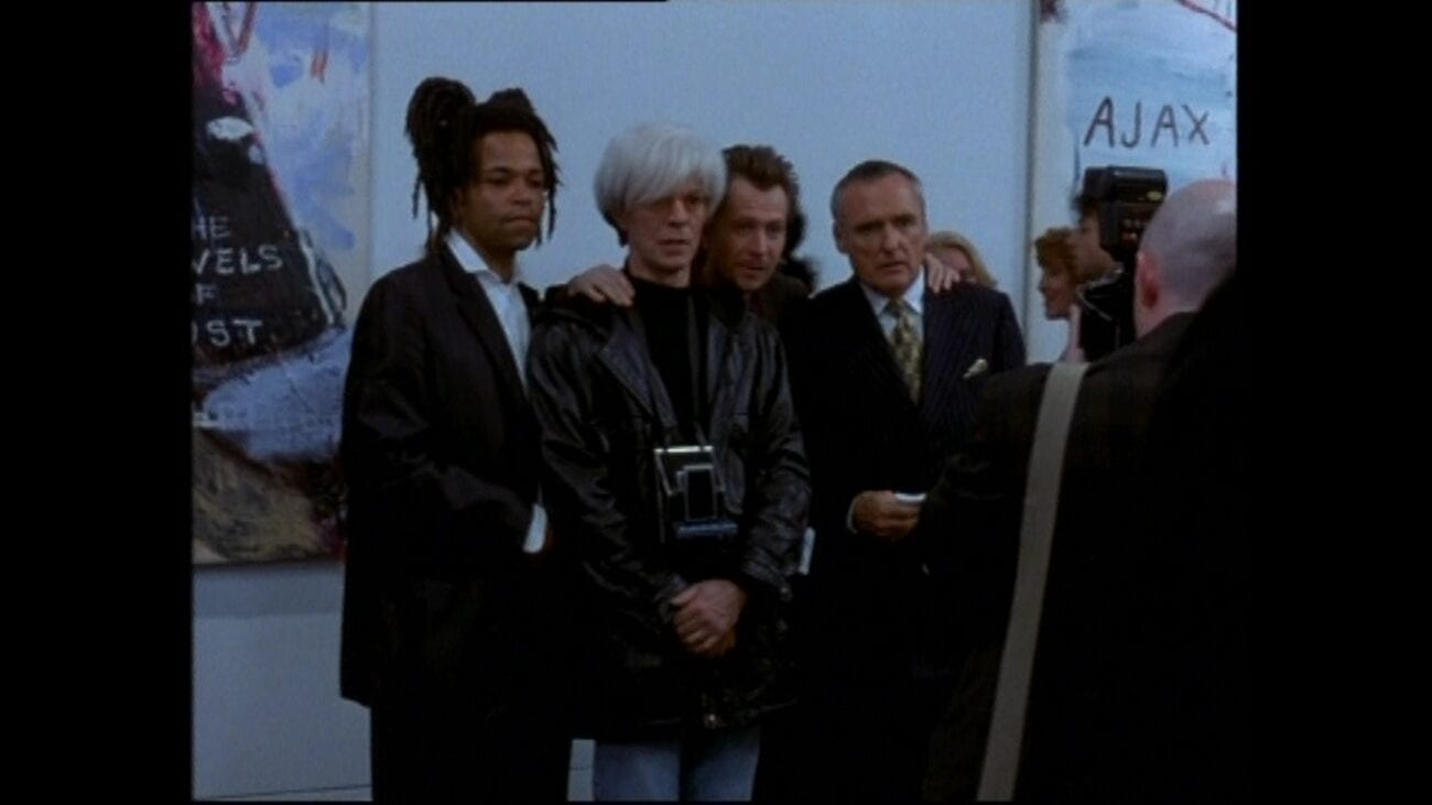 Left to right: Jeffrey Wright as Basquiat, David Bowie as Andy Warhol, Gary Oldman as Albert Milo and Dennis Hopper as Bruno Bischofberger