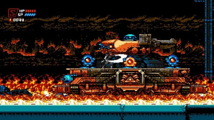 Cyber Shadow attacks a mechanized enemy tank while flames burn a city in the background