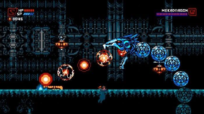Cyber Shadow fights Mekadragon in a water filled room