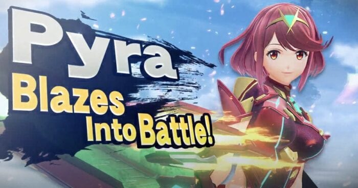 """Pyra poses for Smash while the phrase """"Pyra Blazes into Battle!"""" appears on screen"""