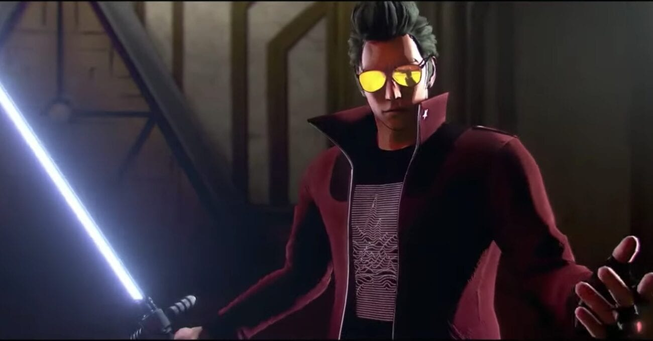 Travis Touchdown stands with his Beam Katana in No More Heroes 3