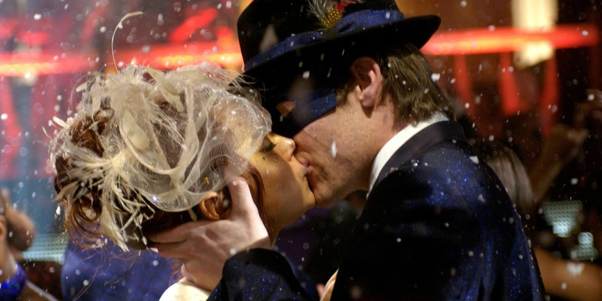 Ashley and Jake kissing at masquerade ball in Just My Luck