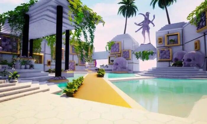 A bright, vibrant environment in Paradise Killer