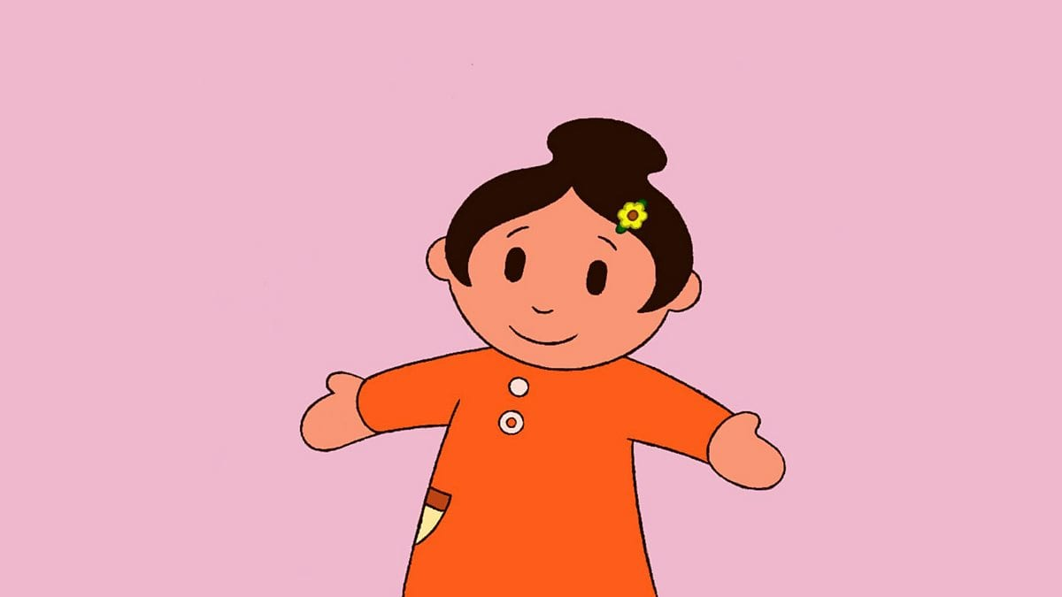 Sali Mali with outstreched arms in a Welsh cartoon