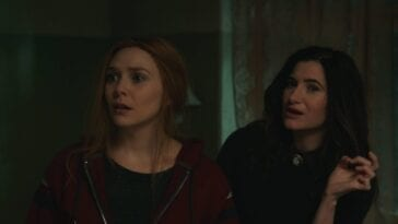 Elisabeth Olsen and Kathryn Hahn in WandaVision