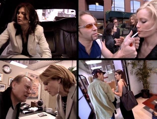 the screen is divided into 4 quadrants. in the top left a woman sits in the backseat of a car. top right, a man lights a woman's cigarette. bottom left a man and woman speak with their faces close together. bottom right, a man and woman stand together talking in an office.