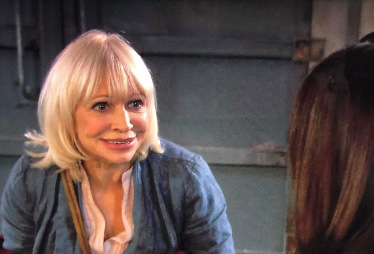 Jo Grant, smiling excitedly at Sarah Jane
