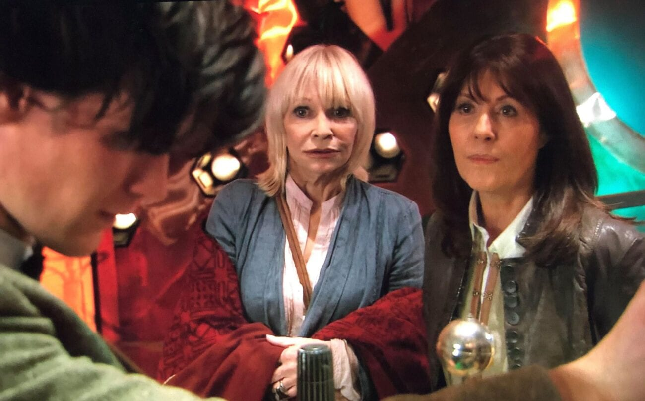 Sarah Jane and Jo in the TARDIS with the Doctor
