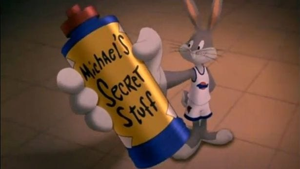 Bugs Bunny holds up a water bottle with Michael's Special Stuff written on it