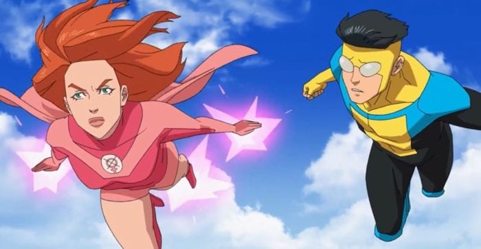 Invincible and Atom Eve flying. Eve seems upset while Invincible seems concerned.
