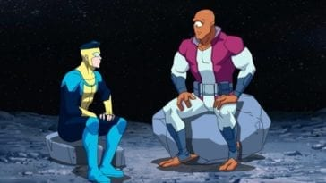 Invincible sits with Allen the Alien on the Moon. Allen is a large, orange, cyclopean alien in Episode 2.