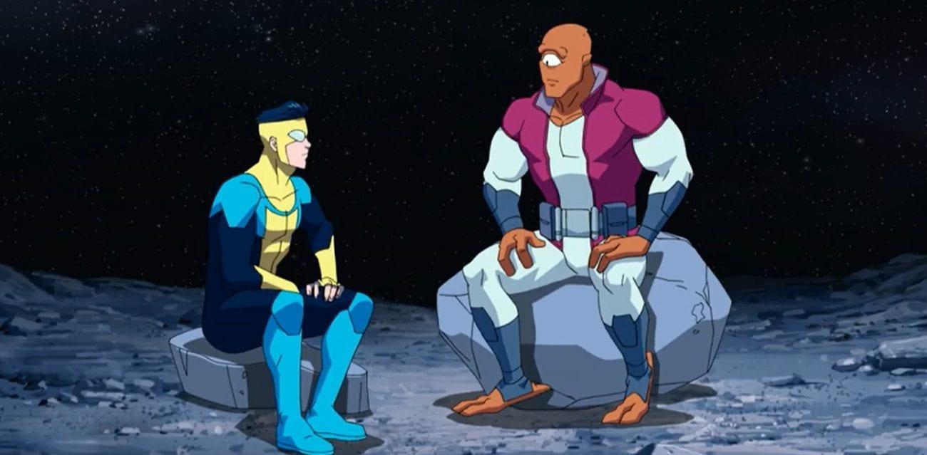 Invincible sits with Allen the Alien on the Moon. Allen is a large, orange, cyclopean alien in Episode 2.