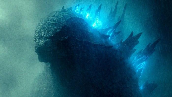 Godzilla glows and glowers in the heavy rain