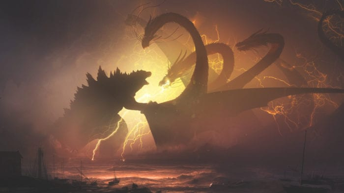 Godzilla and a monster fight in lightning-back silouhette,