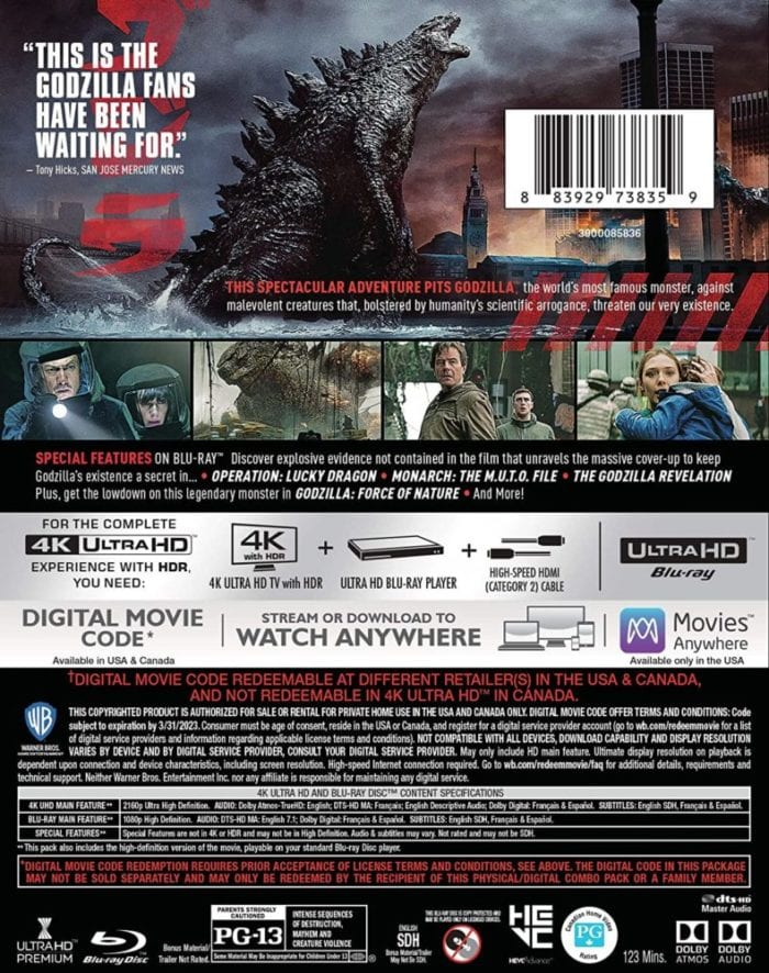 The back cover of the 4K disc release of Godzilla