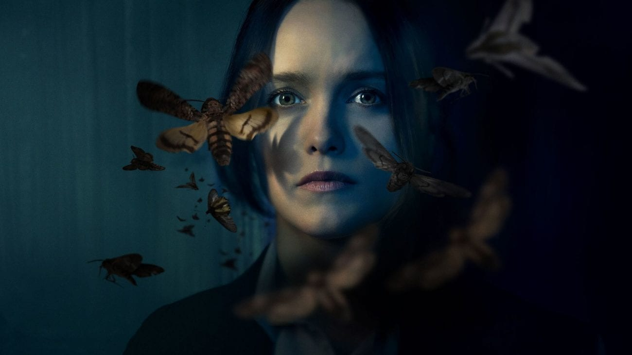 Face shot of Clarice Starling, surrounded by swirling moths