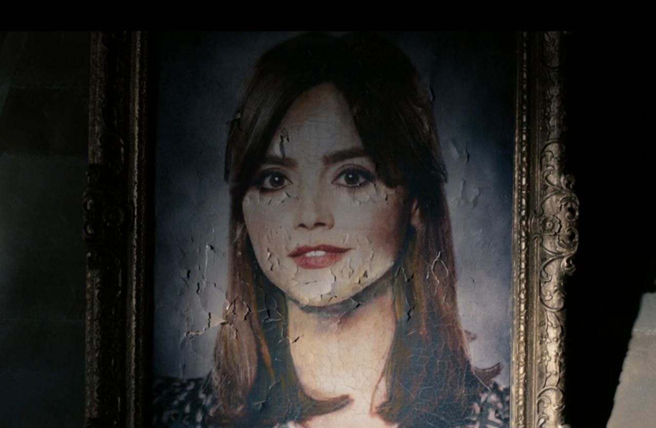 A portrait of Clara with chipping paint in Doctor Who Heaven Sent