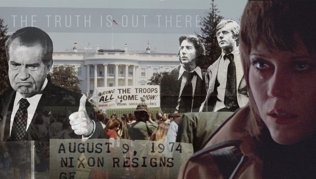 1970s collage including Richard Nixon, Dustin Hoffmann, and Robert Redford along with a shot of the White House in the background