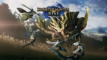 Art for Monster Hunter Rise shows two hunters and their animal companions facing off against a giant creature