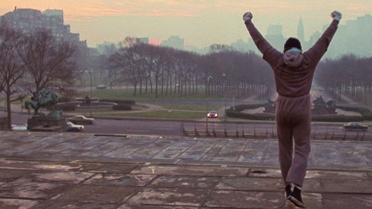 Rocky, triumphant, at the top of the steps in Philadelphia.