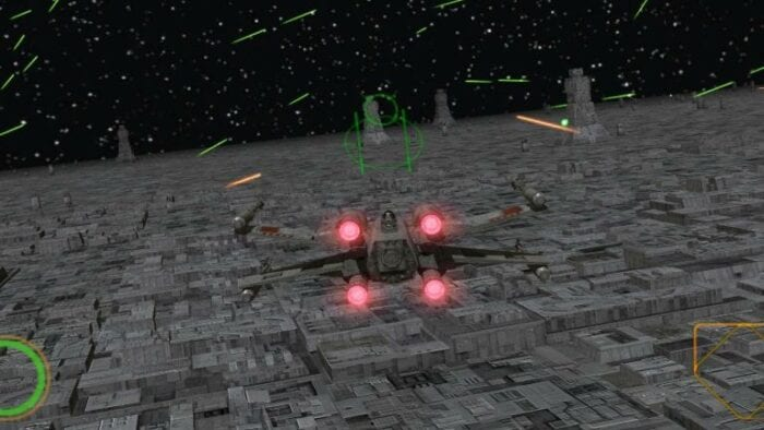 An X wing dog fight in Rogue Squadron