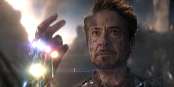 Tony Stark snaps his fingers with his custom made Gauntlet