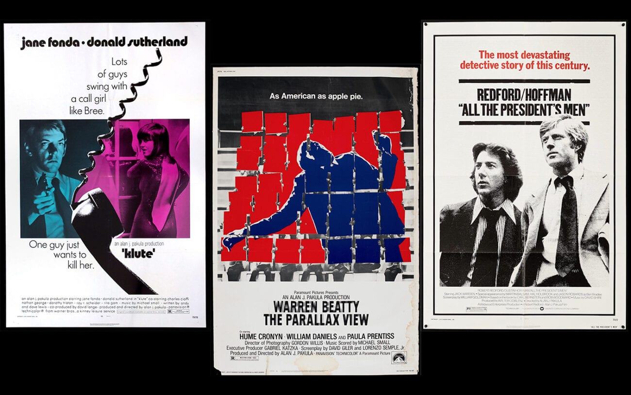 Movie posters for Pakula's trilogy Klute, The Parallax View and All The President's Men.