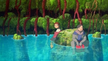 Agito and Cain sit at the bottom of a reservoir covered in plants