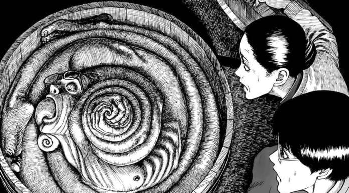 A young woman looks at a spiral with a face in it in Junji Ito's Uzumaki
