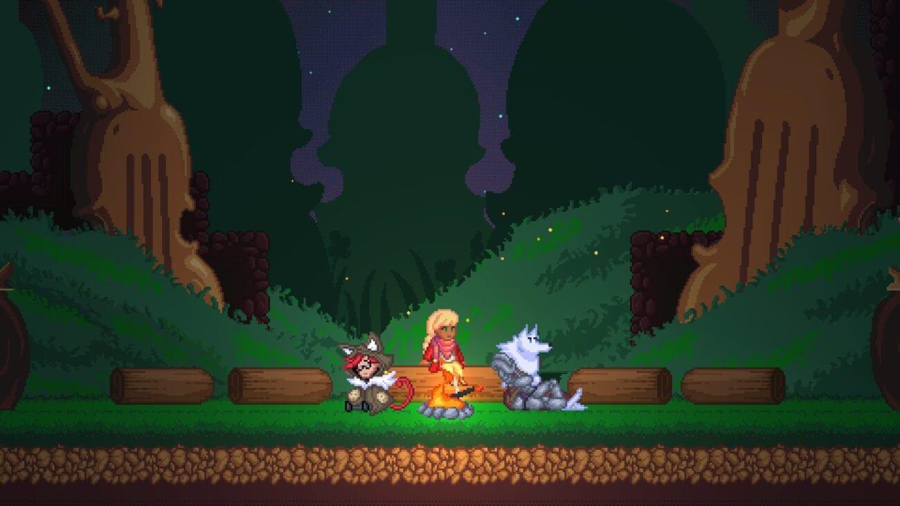 Niko, Viola and Fenrys sit at a campfire