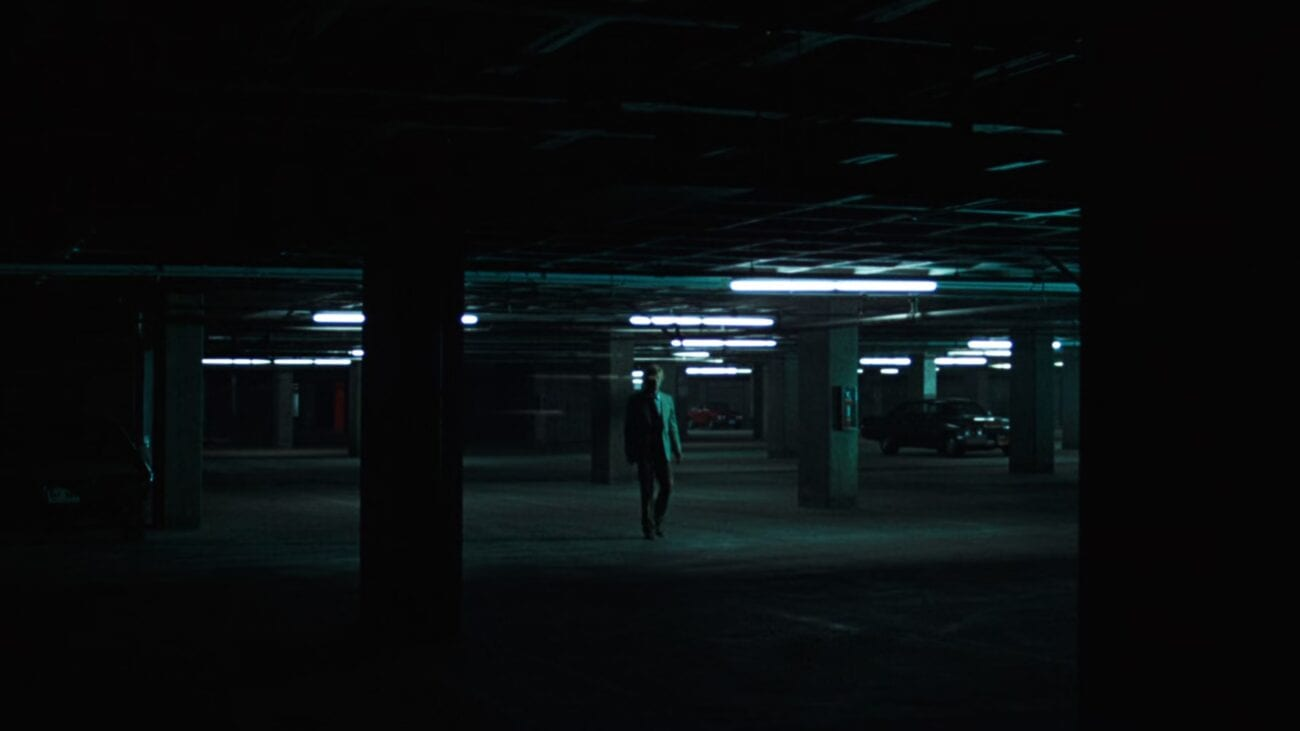 Bob Woodward in the underground parking lot, meeting his informant.
