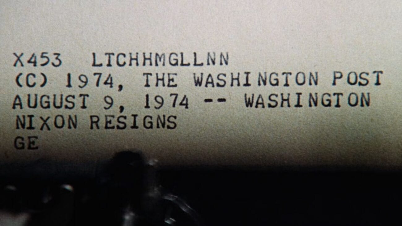 News of Nixon's resignation over a teletype machine.