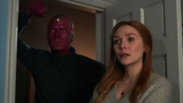 Wanda and Vision stare at their kids from a doorway