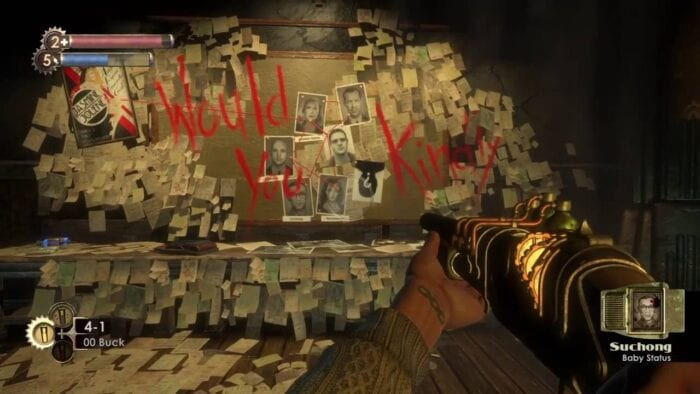 "The player character in Bioshock stares at a wall covered in pictures and papers, with the phrase ""Would you kindly?"" scrawled in red"