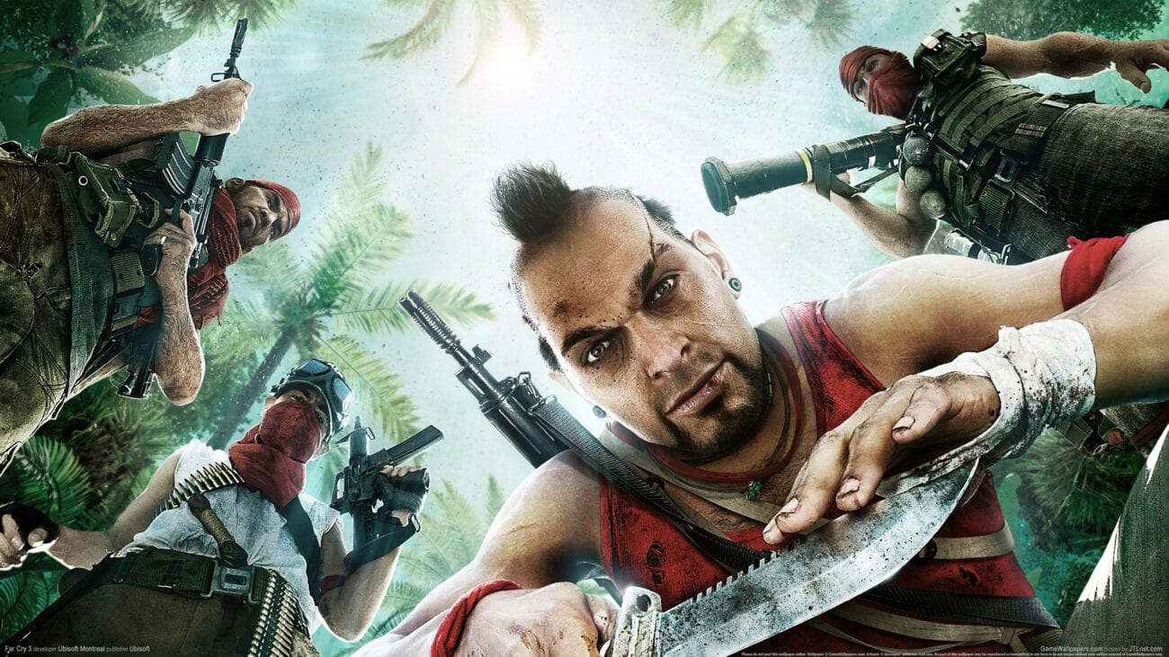 Vaas looks down at the player. He's surrounded by armed henchmen