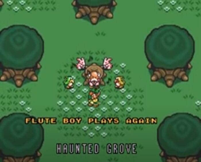 The flute boy plays for his father and woodland friends