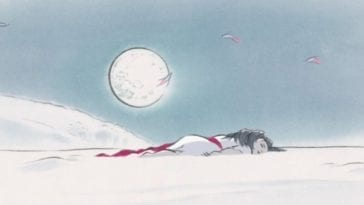 Kaguya lying in the snow under the full moon.