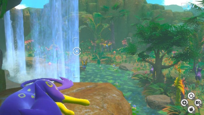 A camera view of a jungle with several Pokémon in the distance