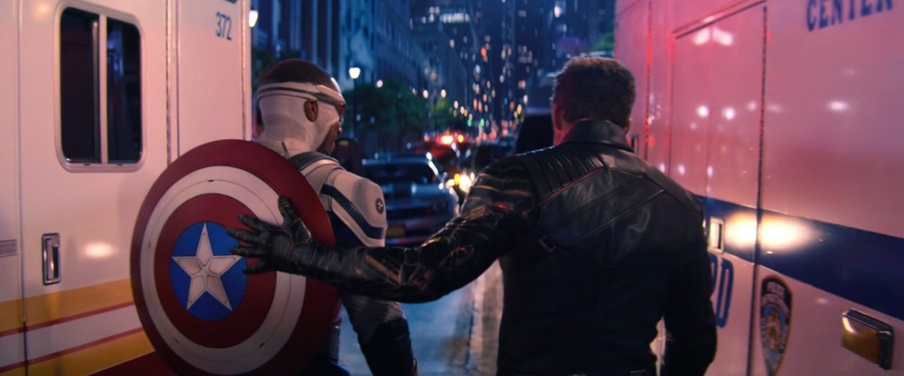 Sam Wilson and Bucky Barnes walk together in The Falcon and the Winter Soldier finale.