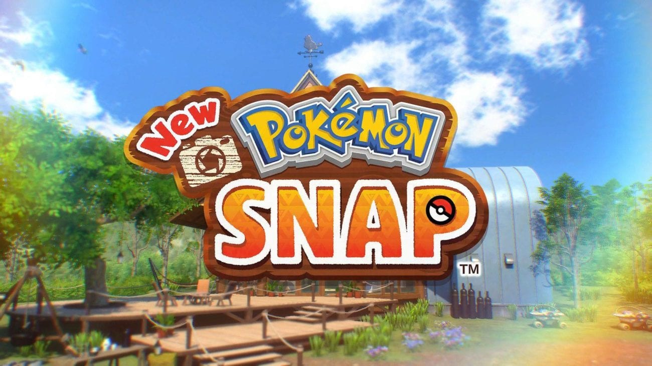 The New Pokemon Snap logo in front of a nature path
