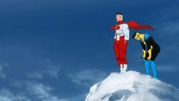 Invincible and Omni-man stand at the top of Mount Everest. Omni-man looks heroic, Mark looks winded.